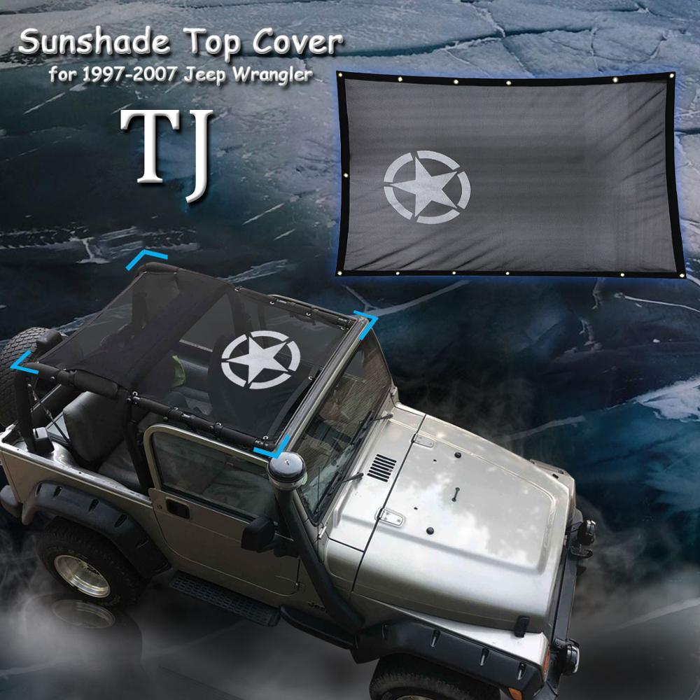 Parasol de malla Bikni, cubierta tipo parasol para techo, red de protección UV para Jeep Wrangler TJ 1997-2007, malla duradera de poliéster para visera