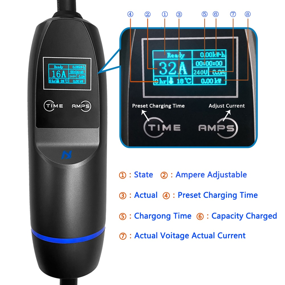 KHONS Portable EV Charging Cable Single Phase 5M Cable Switchable 16/24/32A 7.2KW Applicable To Charging Station Red CEE Plug enlarge