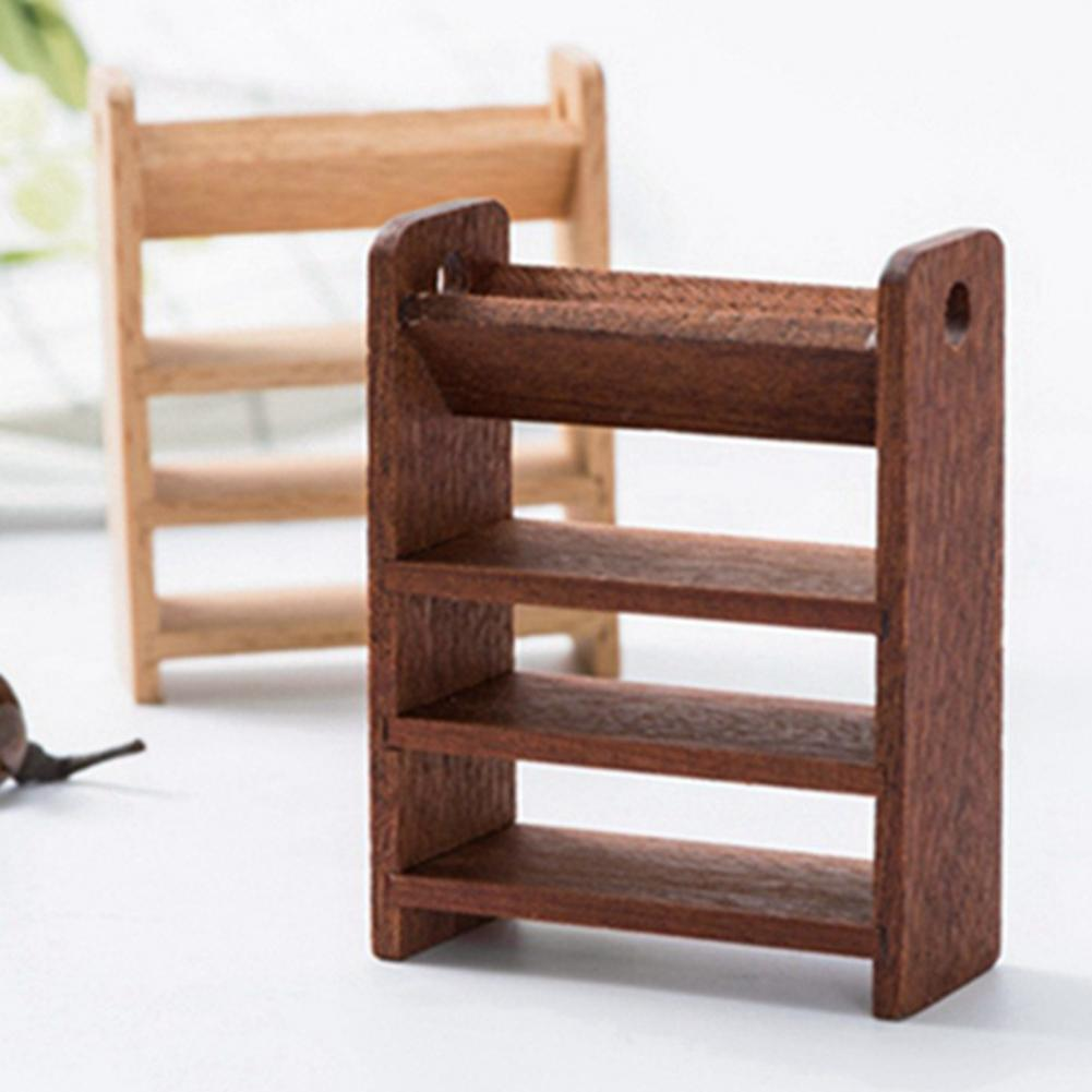 1/12 Mini Wooden Storage Shelf 4 Layer Display Rack Dollhouse Furniture Decor Furniture Toys 2021