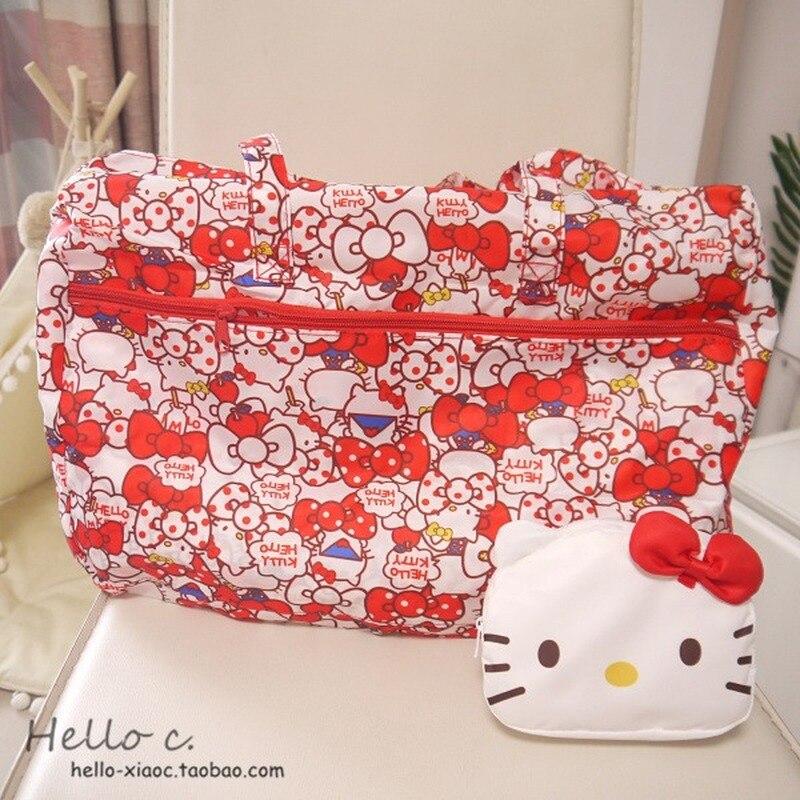 Bolsa de viaje de Hello Kitty para mujeres de dibujos animados, Dog Anpanman Pudding, bolsa de equipaje plegable portátil, bolsas de viaje, bolsa de viaje con ruedas