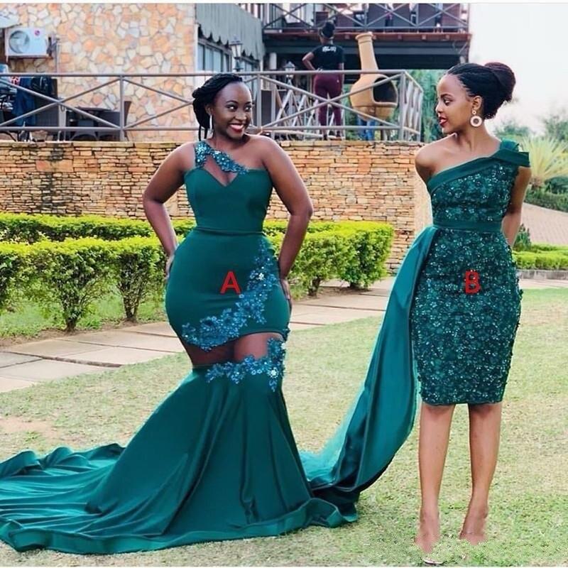 Vestido de graduación cinturón sirena de dos estilos verde oscuro africano de talla grande apliques de un hombro hasta el suelo vestido Formal vestidos de noche