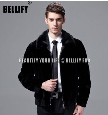 Legal cor preta Wholeskins natural mink casacos de peles e casacos para homens de Negócios Formal masculino considerável real mink fur coats