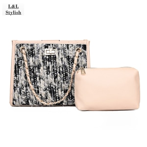 L&LStylish New Quality Wool Cover Shoulder Bag for Women Chains Decoration Handbag Small Soft Messenger Bag for Female Tote Bag