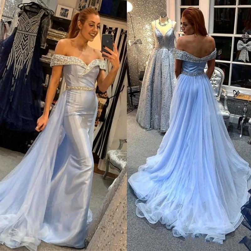 Vestido largo de sirena, accesorio de noche con sobrefalda, cristales brillantes, sin hombros, para fiesta, madre de la novia