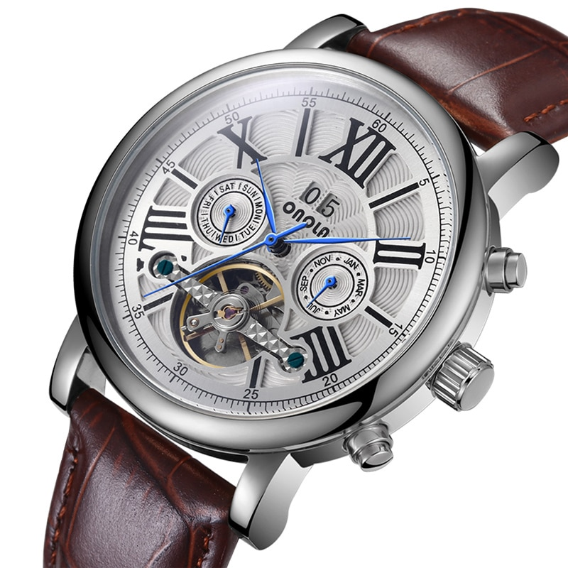 Automatic Mechanical Watch For Men Brand High Quality Watch Men Fashion Leather Belt Clock Relogio M