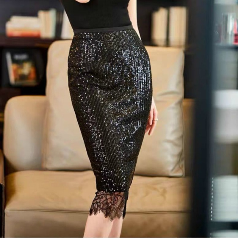 High Waist Midi Skirts Y2K Streetwear Sexy Lace Bodycon Skirt Summer Fashion Sequined Pencil Skirts Women Party Outfits