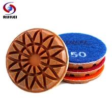 RIJILEI 4PCS 3inch Diamond polishing pads Hybrid Copper bond wet concrete floor plishing pad for granite marble Grinding Discs