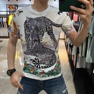 Men's Panther Rhinestone T-shirts Luxury Vintage Short Sleeve T Shirt 2021 Summmer Casual Slim T Shirt Male Clothing Tee Tops