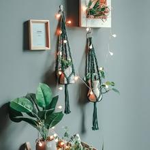 Tissé à la main macramé coton corde Pot de fleur suspendu panier filet sac noué corde Pot de fleurs porte-plante maison balcon jardin décor