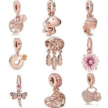 2020 925 argent Sterling Rose marguerite fleur pendentif pendentif pendentif en or Rose pendentif breloque bijoux à bricoler soi-même