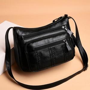 Многофункциональные сумки через плечо для женщин, повседневная однотонная женская сумка на плечо из искусственной кожи, женская сумка боль...