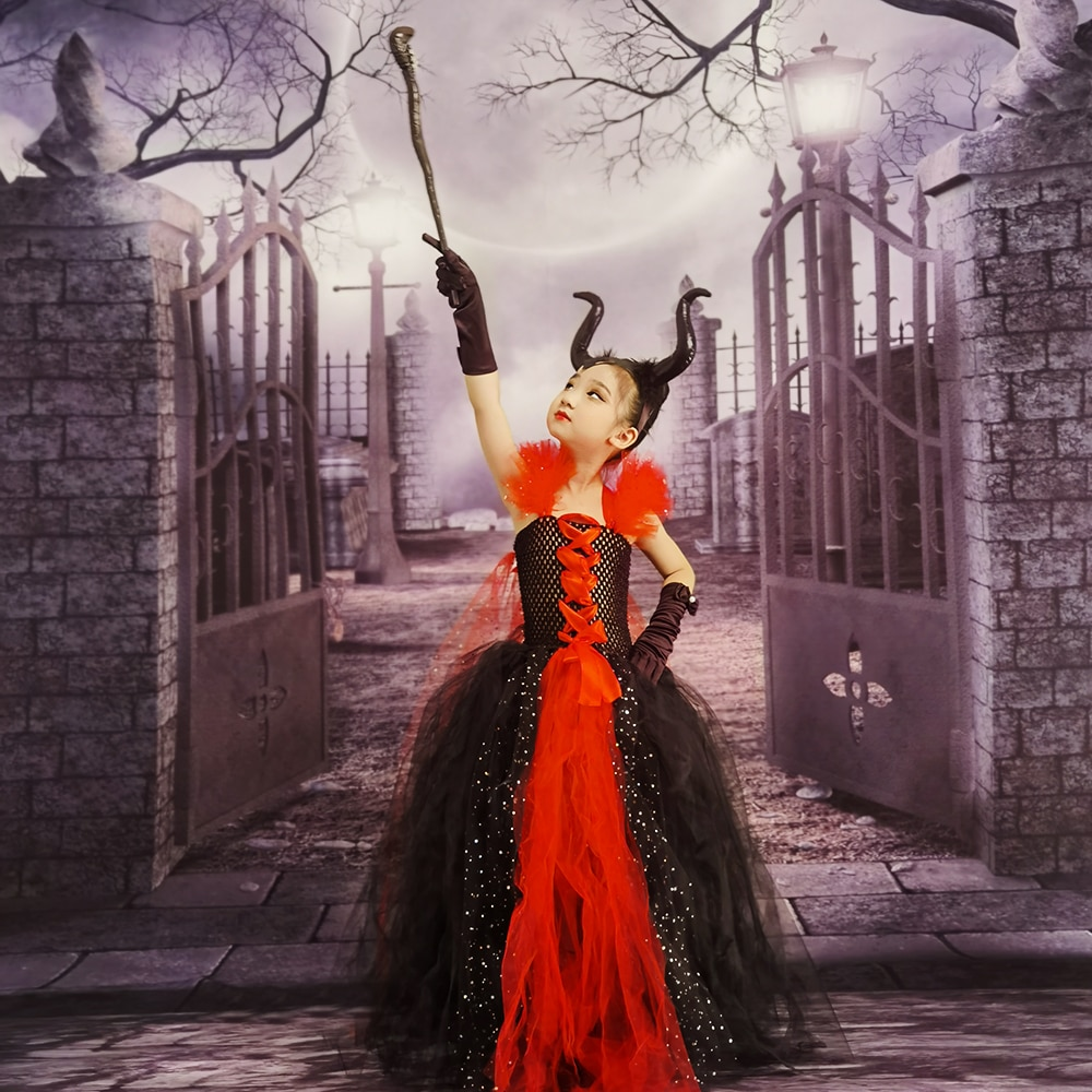 Halloween Costume for Kids Children Clothing Evil Queen Girls Tutu Dress with Horns Party Cosplay Costume