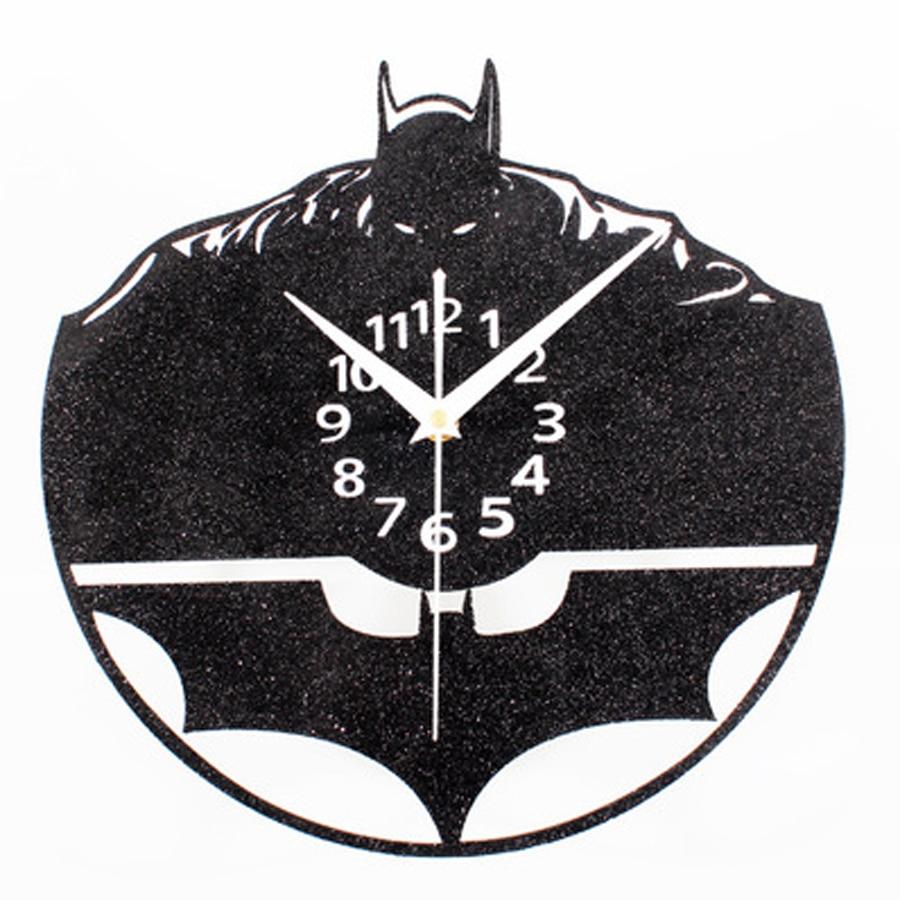 Reloj de pared creativo Batman diseño moderno decorativo para niños relojes de habitación arena negra Vintage Retro reloj de decoración del hogar silencioso de 12 pulgadas