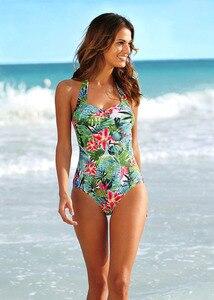 Женский сплошной купальный костюм с принтом, винтажный купальник-монокини с открытой спиной, пляжный купальный костюм, новинка 2021