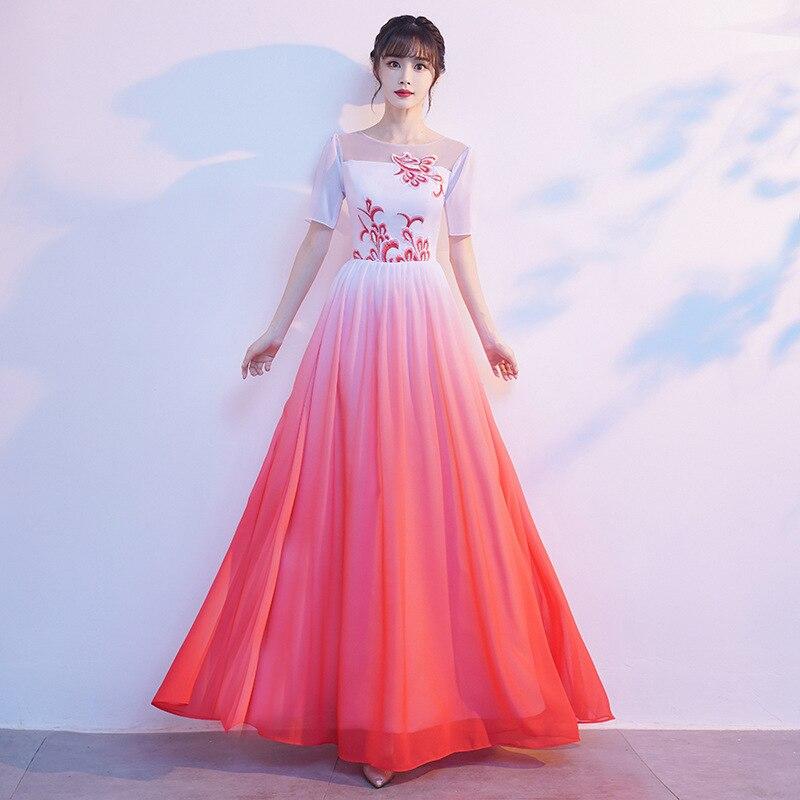Vestido de Festa à Noite Vestido de Banquete Elegante Chiffon Feminino Cheongsam Apliques Requintados Vestido Chinês Dança Desempenho Maxi