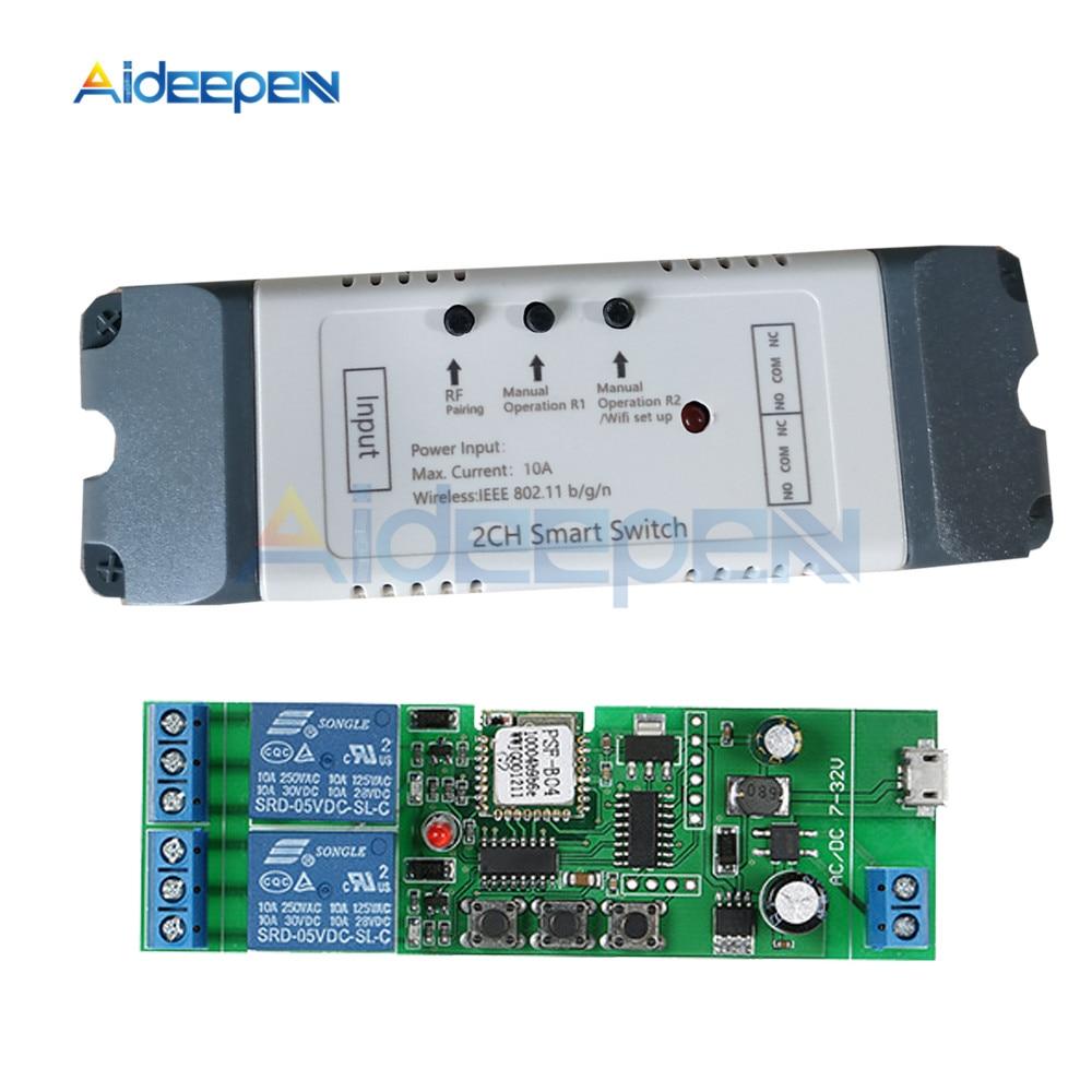 Interruptor de relé inteligente wifi 2 canais relé casa inteligente módulo wi-fi dc 5 v 12 v 24 v 32 v 110 v 220 v sem fio interruptor temporizador controle remoto