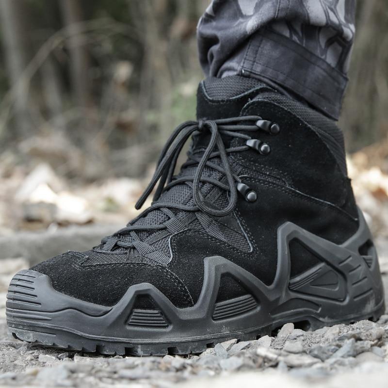 الرجال عالية الجودة ماركة الأحذية الجلدية العسكرية قوة خاصة التكتيكية الصحراء القتالية الرجال الأحذية في الهواء الطلق حذاء من الجلد