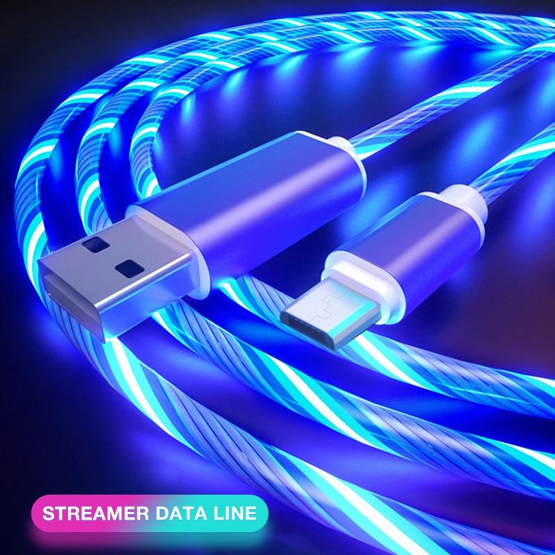Cable brillante para carga de teléfono móvil, Cable de carga de luz...