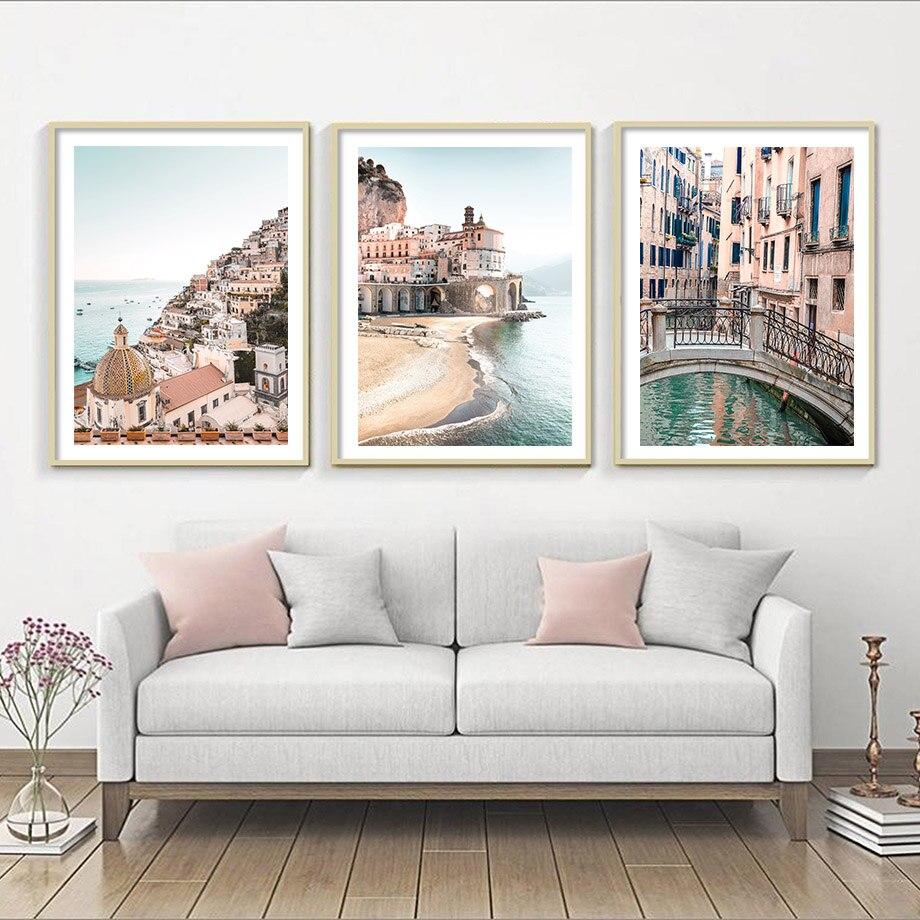 Carteles nórdicos de la Costa de Amalfi, cuadro sobre lienzo para pared,...