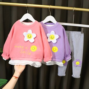 Baby Girl Clothes Flower Costume with Lace Cotton Sweet T-shirt + Gray Legging Suit 1 2 3 4 Years Kids Sets 4 Colors