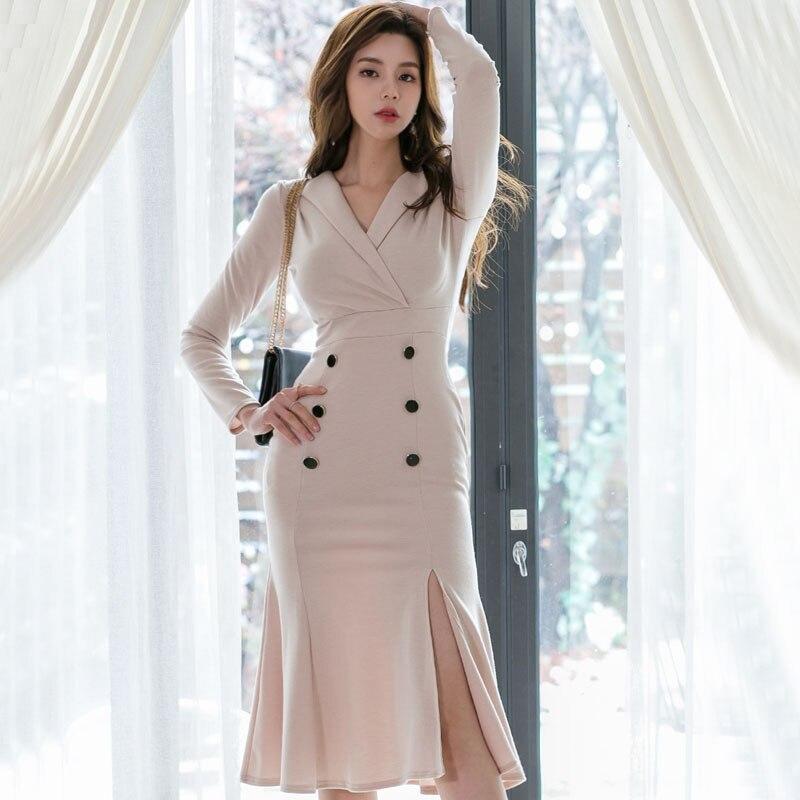 Femmes Slim taille Vestidos robe travail vestidos Business partie moulante bureau dame