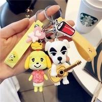 new switch game animal crossing keychain cute cartoon raccoon hedgehog car key chain kids friends bag pendant keyring gifts