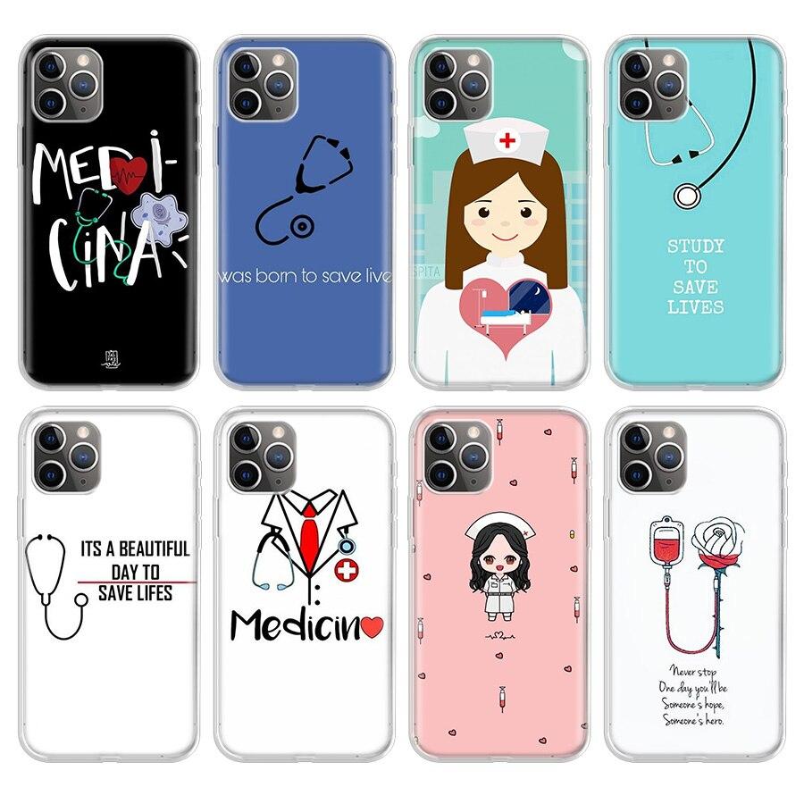 Enfermeira médico caso de telefone para iphone se 5 5S 6g 6plus 7 8plus 11 pro x xs xr max silicone macio tpu capa traseira coque escudo