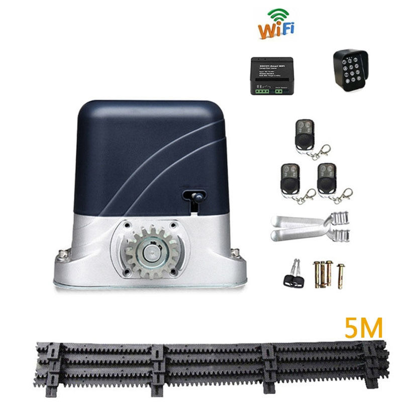 5m nylon rack and pinion motor for 600kg light mute door automatic sliding door opener motor WiFi controller+Touch keyboard 800kg electric sliding door motor automatic door opener moving wheel door with 4m steel tooth rack the standard configuration