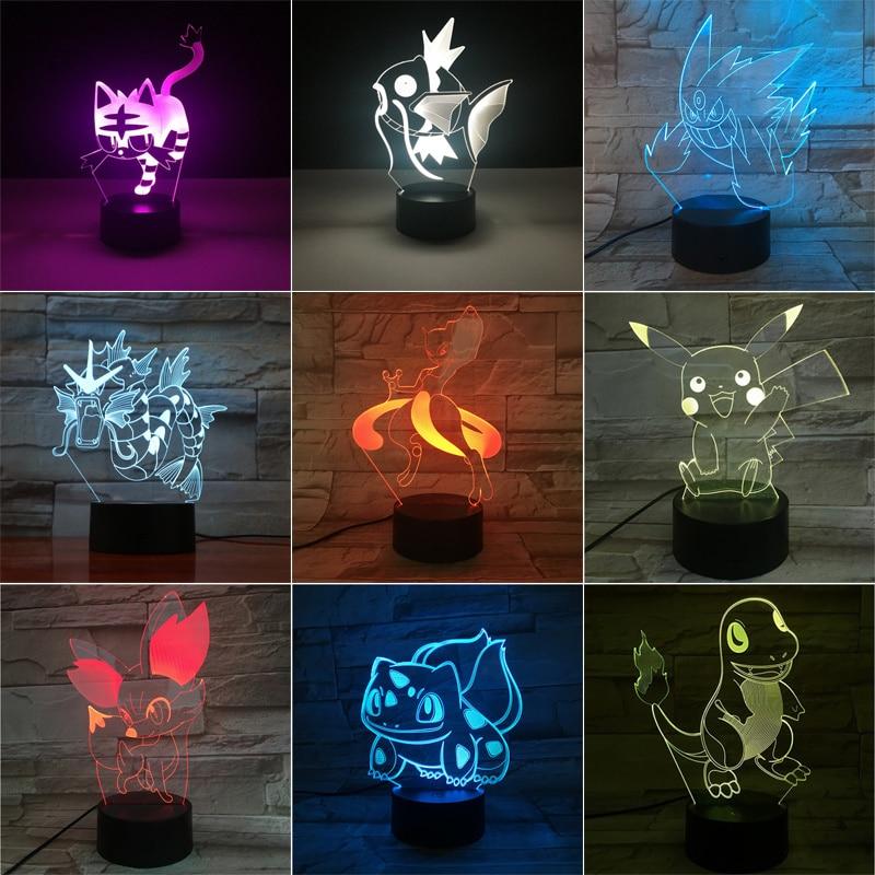 Takara Tomy Pikachu Mewtwo Eevee Charizard Greninja 3D LED veilleuse figurine jouet cadeau de noël