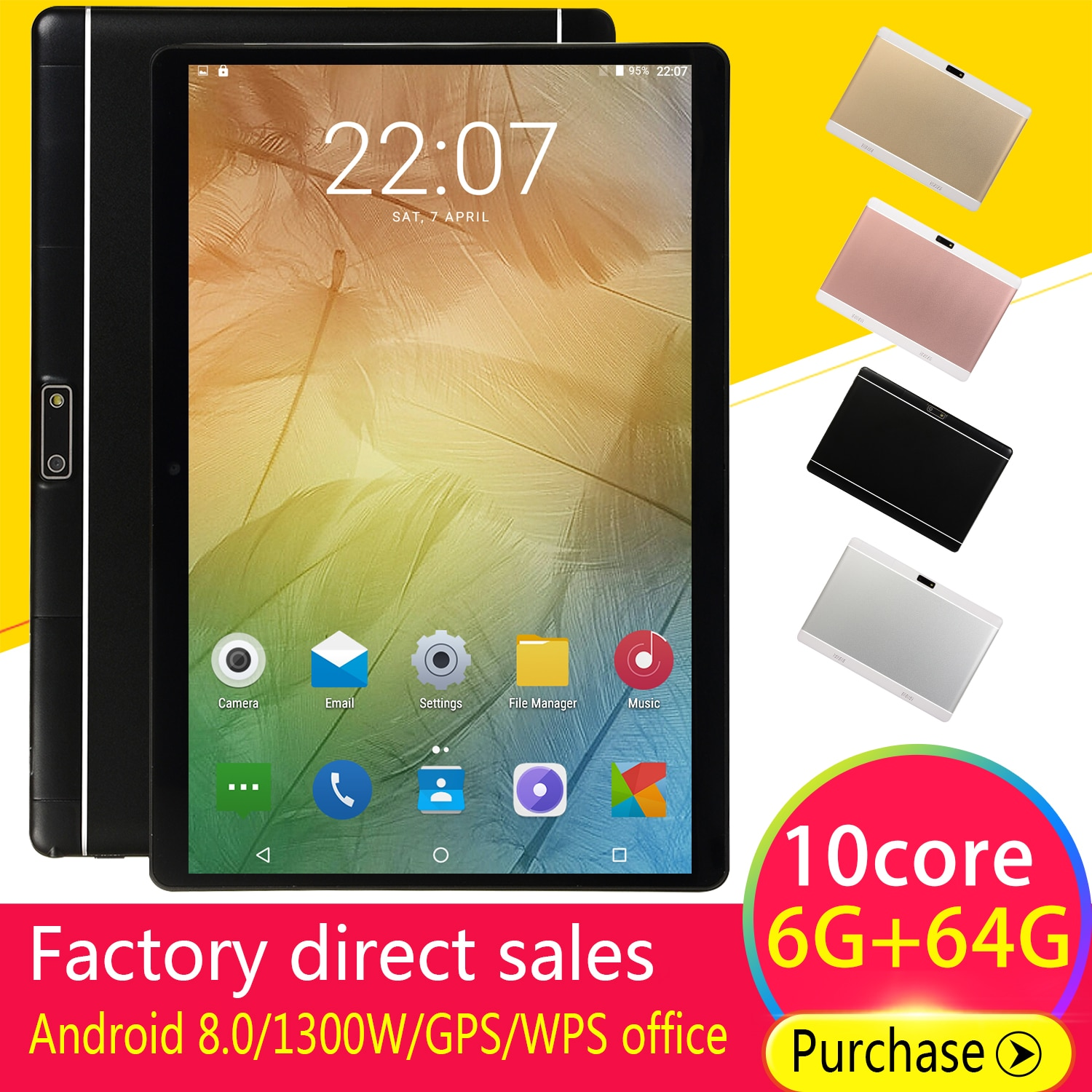 10.1 Inch HD Game Tablet Computer PC Android 8.0 Ten-Core GPS WIFI Dual Camera Tablet Pad Support Dual Sim Card