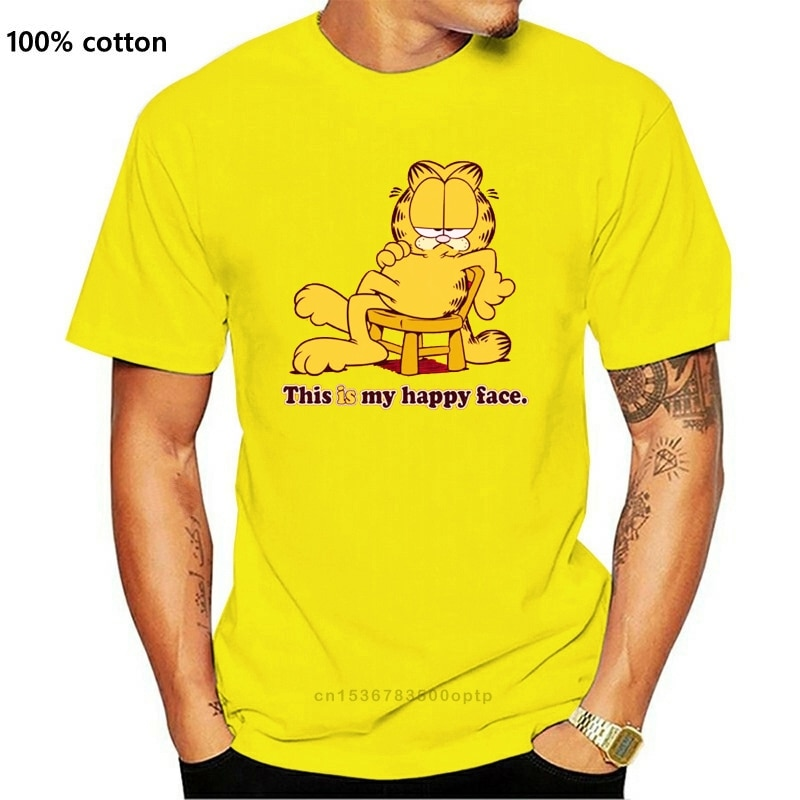 Garfield Mannen Gelukkig Gezicht T-shirt Rood Rockabilia