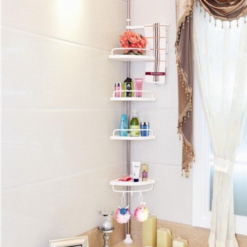 4 Layers Bathroom Stand Rack Telescopic Caddy Organiser Adjustable Kitchen Wall Corner Storage Rack