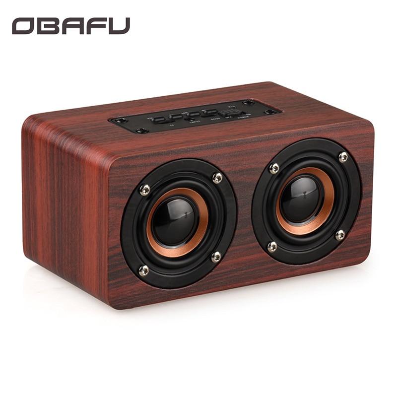 Altavoz Bluetooth inalámbrico de madera Obafu, barra de sonido portátil HiFi con bajos de choque TF caixa de som para iPhone Sumsung Xiaomi