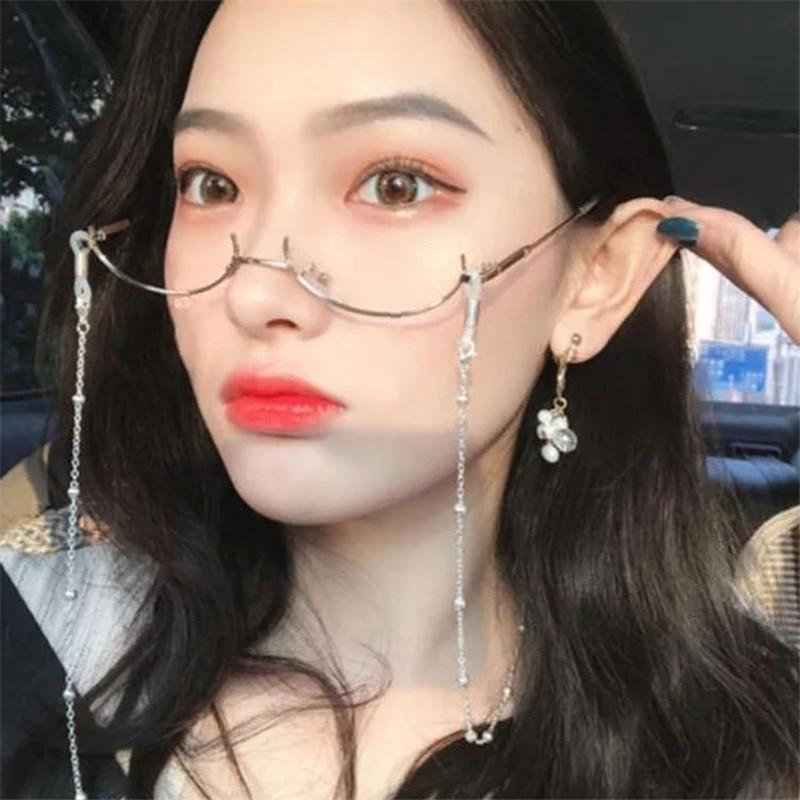 Unisex half-frame Plain glasses + chain Japanese style lensless metallic glasses plain glass spectac