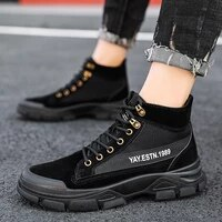 2021 new fashion men martin boots cool black military boots man high top canvas sneakers casual male ankle boots hombres botas