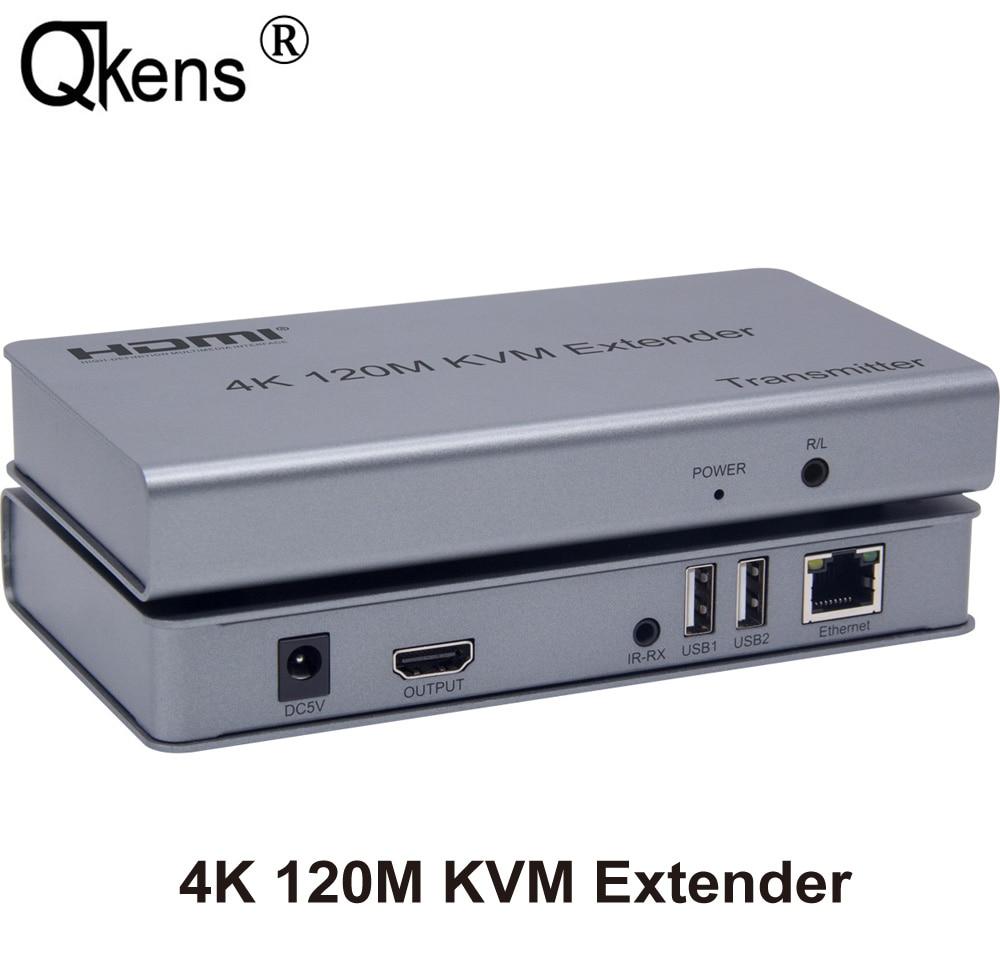 4k 120m kvm hdmi extensor por rj45 ethernet cat5e cat6 conversor de cabo tx rx suporte usb extensão do teclado do rato tela sensível ao toque