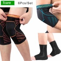 6pcsset unisex knee elbow ankle sleeves braces support compressions pads for running hiking outdoor sports ball games