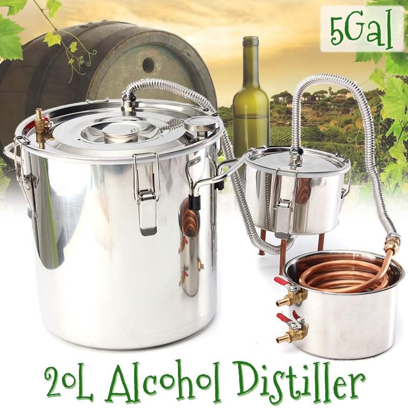 جهاز تقطير فعال 5 جالون ، 22 لتر ، كحول Moonshine من الفولاذ المقاوم للصدأ ، كحول ، ويسكي ، ماء ، نبيذ ، زيوت عطرية ، مجموعة تخمير
