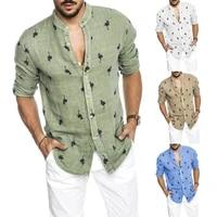 2021 mens shirt hot style men shirts long sleeve flamingo printed plus size linen casual shirt top streetwear clothing
