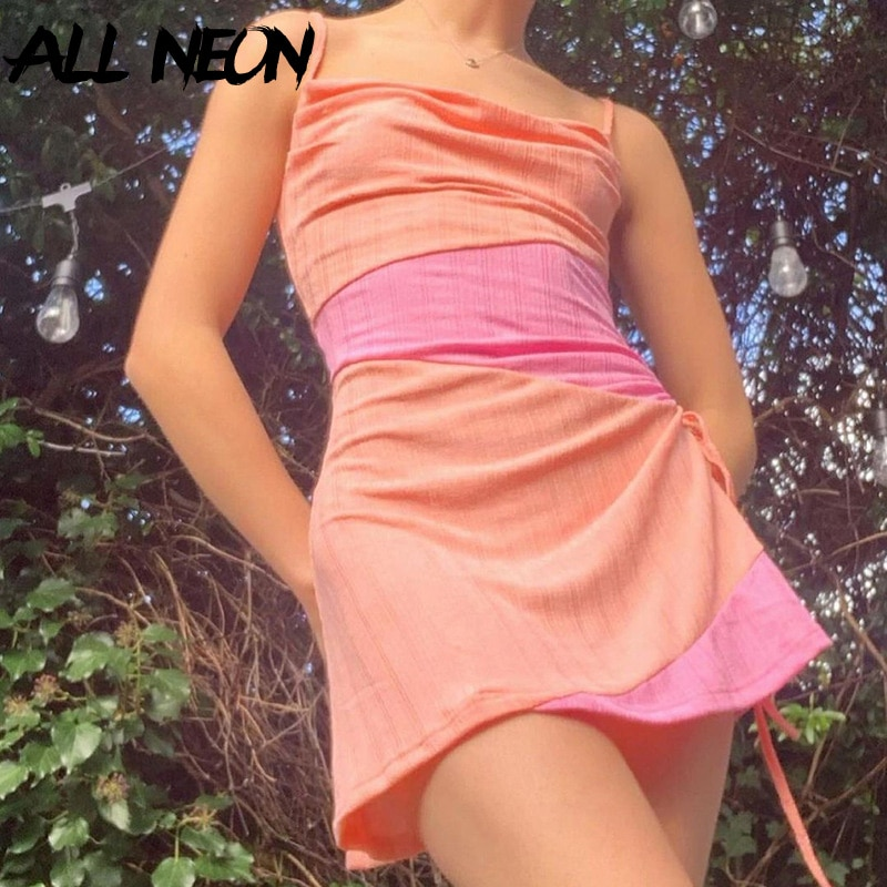 ALLNeon 2000s Aesthetics Pink Lace-Up Patchwork Dresses Y2K Fashion Cowl-Neck Ribbed A-line Cami Dress Cute Outfits Summer 2021