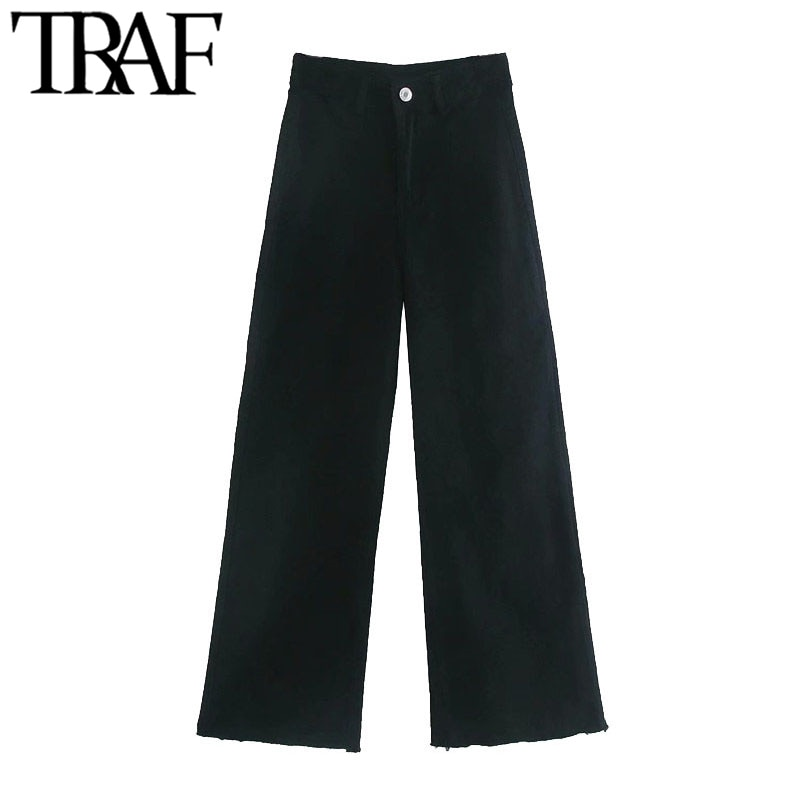 TRAF-بنطلون جينز نسائي مستقيم عتيق ، جيوب بشرابة متوترة ، خصر مرتفع ، سحاب ، ذبابة ، كاحل
