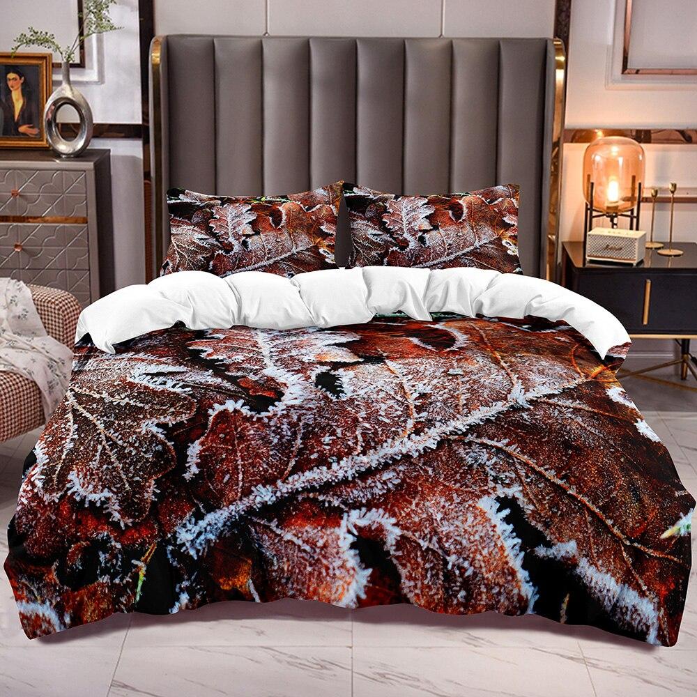 Duvet Cover with Winter Falling Leaf Print Botanical Bedding Comforter Cover Plants Theme Zipper Closure Corner Ties
