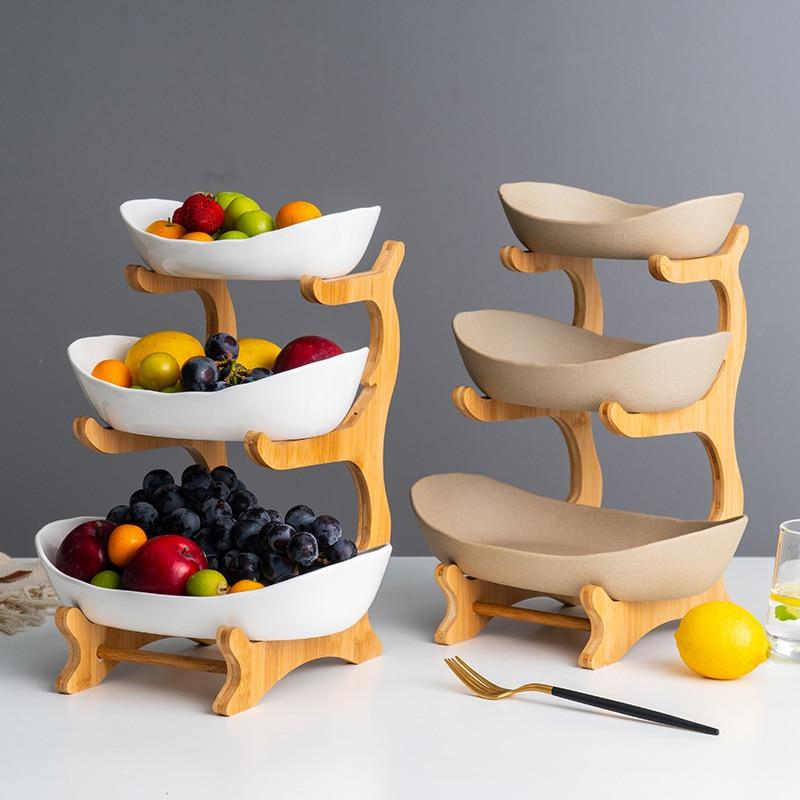 Керамическая Фруктовая тарелка бамбуковая полка конфетная тарелка для гостиной дома 2 или 3 слоя фруктовая миска закуска пирог десерт стенд...