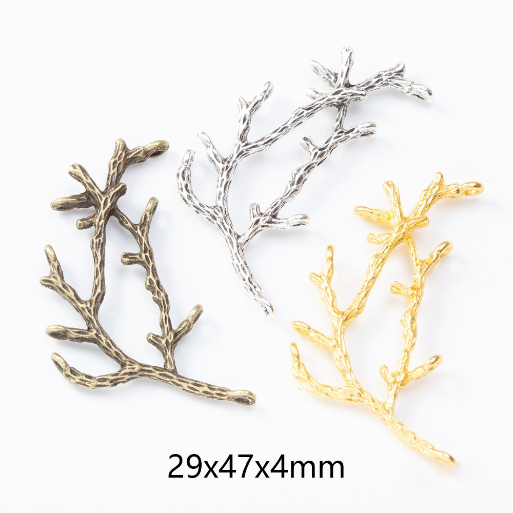 10pcs Metal Tree Branch Charms Pendants for DIY Necklaces Bracelets Brooches Jewelry Findings Craft Making Wholesale