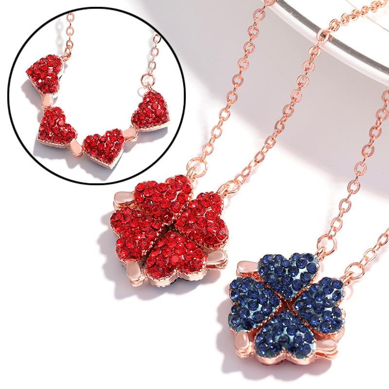 Collar con colgante de trébol de cuatro hojas creativo de diamantes de imitación coreanos para mujeres, collar de fiesta de moda de hierba de la suerte, joyería