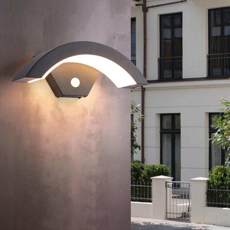 Thrisdar 18/24 واط PIR محس حركة وحدة إضاءة LED جداريّة مصابيح في الهواء الطلق مصباح جداري للحديقة الألومنيوم الباب الأمامي شرفة الممر الشرفة ضوء