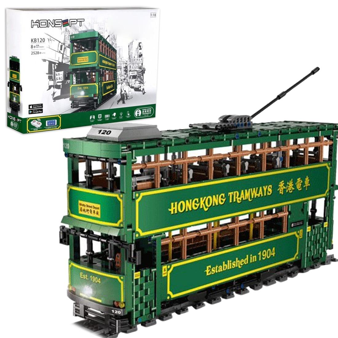 2528 pçs 118 blocos de construção do bonde da trilha do ônibus do duplo andar diy tijolos da haste brinquedo para crianças brinquedos educativos presente-versão dinâmica