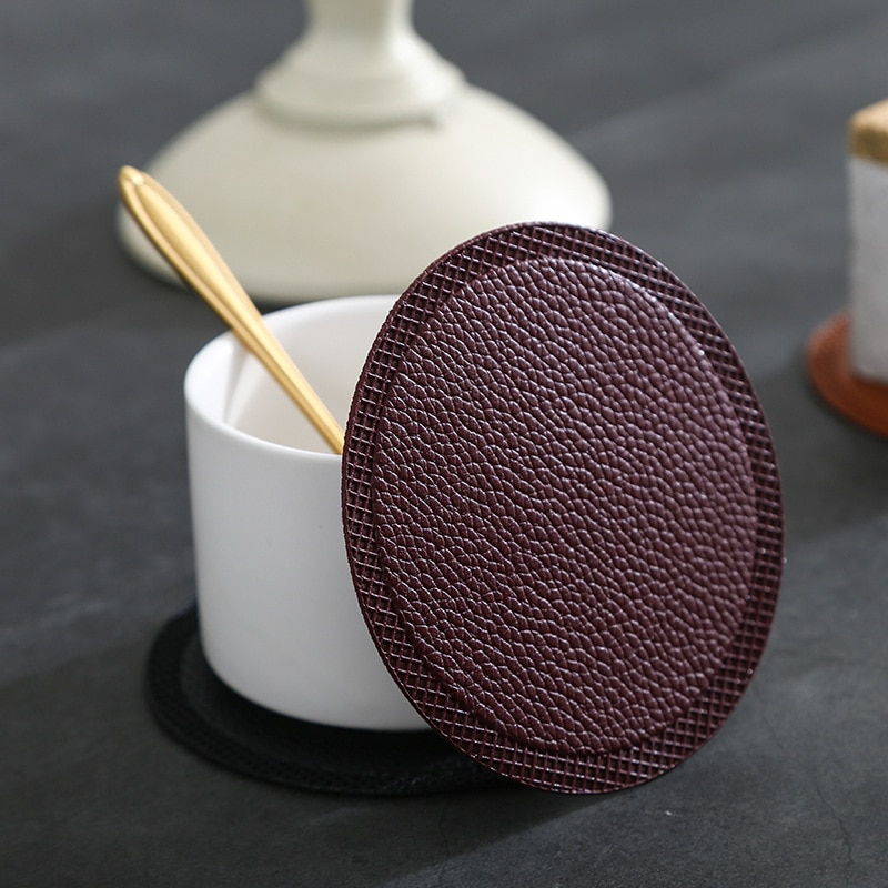 Coaster round PU leather solid color coaster restaurant coffee mat