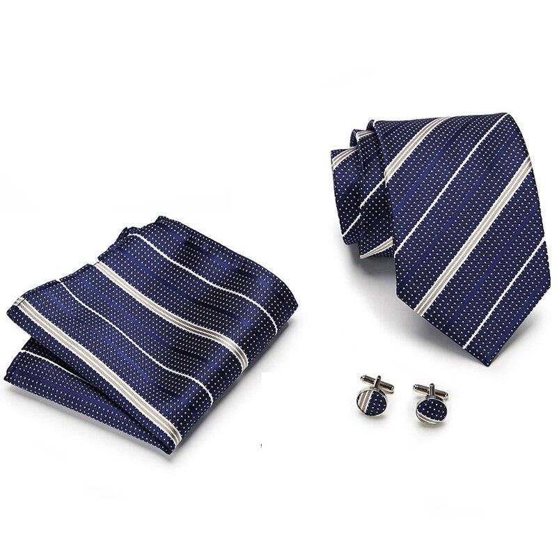Newest design Brand 100% Silk Tie Handkerchief Pocket Squares Cufflink Set Clip Necktie Dropshipping Fathers Day