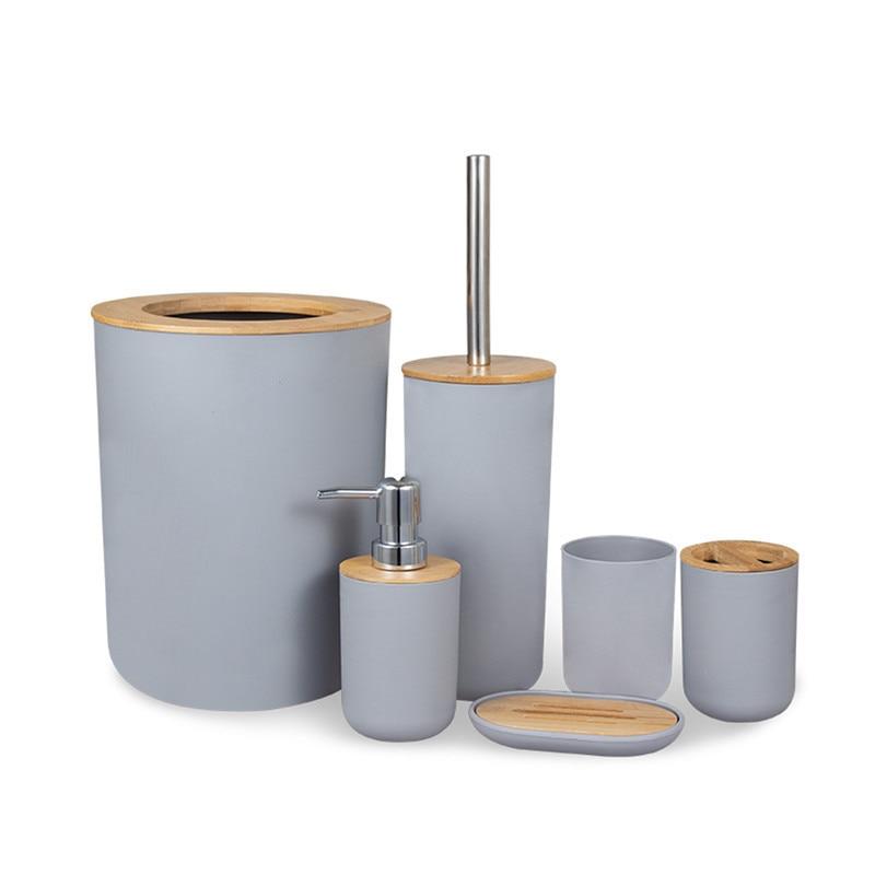 Bathroom 6Pcs Bamboo Accessories Sets Toothbrush Holder Soap Dispenser Toilet Brush Bathroom Set Bathroom Decoration Accessories enlarge